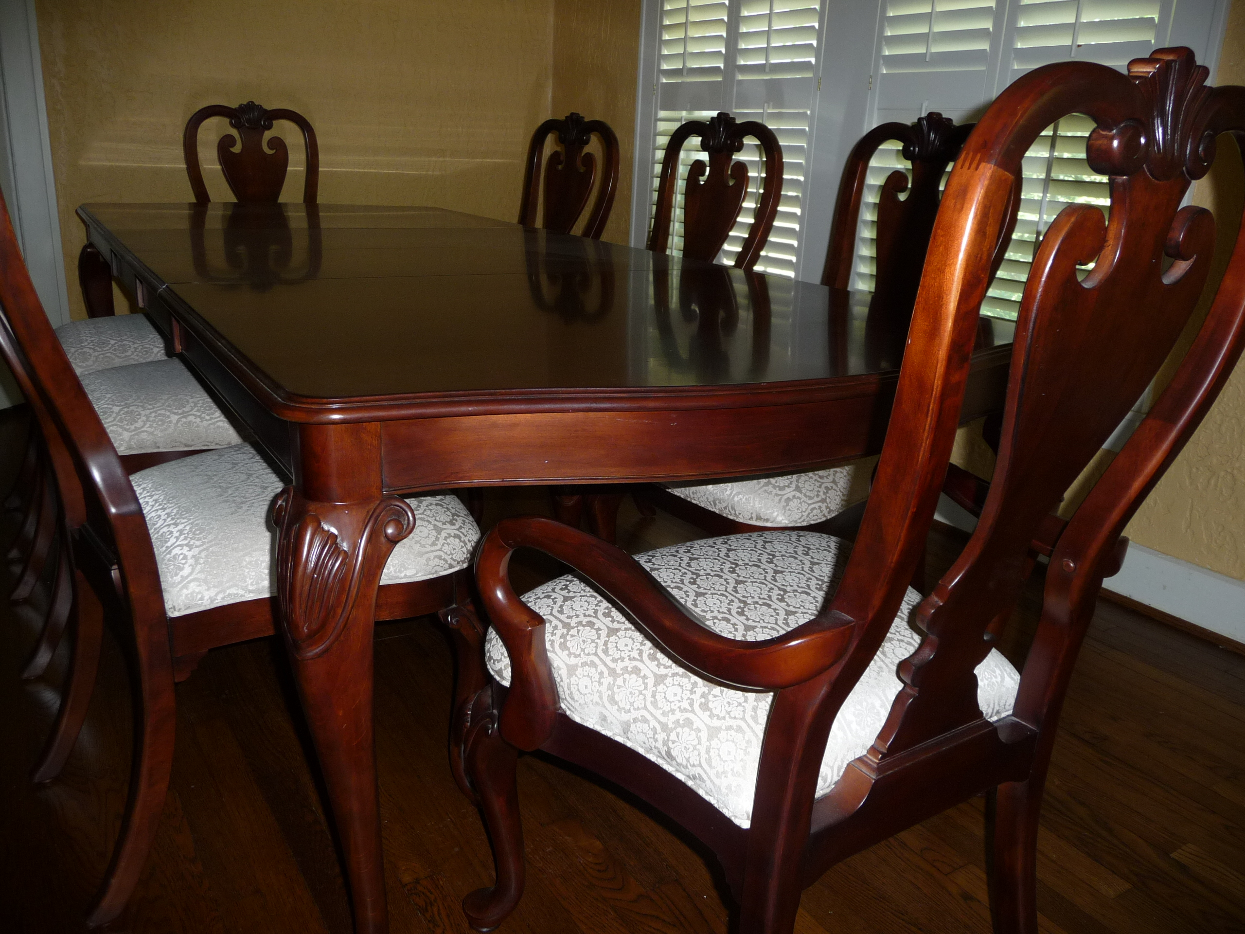Double Pedestal Table. Set Of Ten Queen Anne Style Mahogany Dining ...